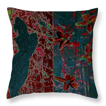 April Showers/ May Flowers Throw Pillow by Jacqueline McReynolds