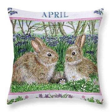 April Wc On Paper Throw Pillow