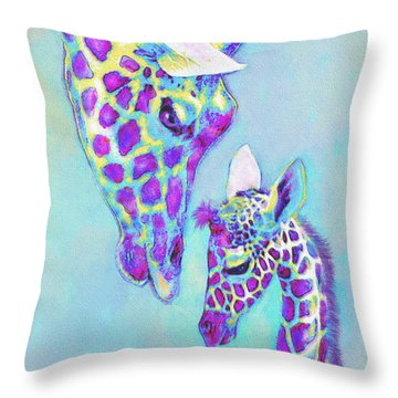 Aqua And Purple Loving Giraffes Throw Pillow