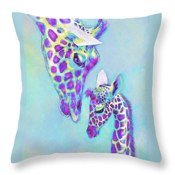 Aqua And Purple Loving Giraffes Throw Pillow by Jane Schnetlage