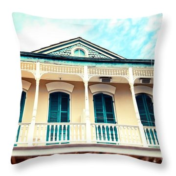 Throw Pillow featuring the photograph Aqua And Yellow House by Sylvia Cook