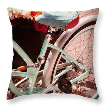Aqua Bicycle Throw Pillow by Valerie Reeves