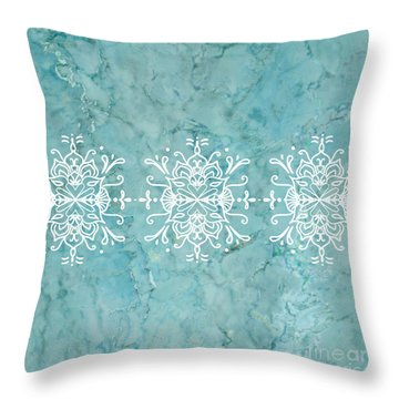 Aqua Blue Marble-royal White Throw Pillow
