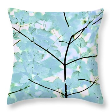 Aqua Blues Greens Leaves Melody Throw Pillow by Jennie Marie Schell
