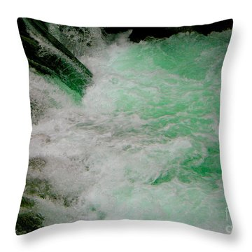 Aqua Falls Throw Pillow
