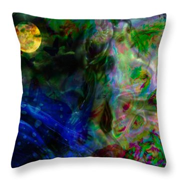 Throw Pillow featuring the digital art Aqua Lover by Diana Riukas