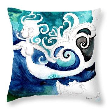 Aqua Mermaid Throw Pillow by Genevieve Esson