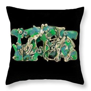 Aqua Reef Throw Pillow by Laura Wilson