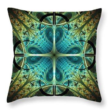 Aqua Shield Throw Pillow by Anastasiya Malakhova