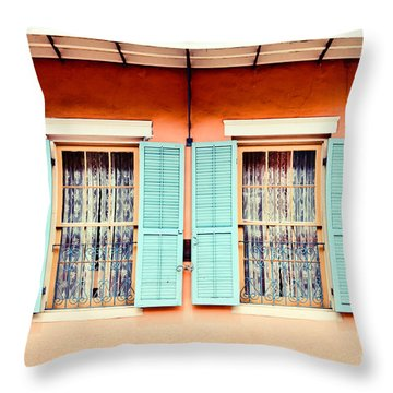 Throw Pillow featuring the photograph Aqua Shutters by Sylvia Cook