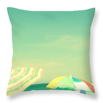 Aqua Sky With Umbrellas Throw Pillow by Valerie Reeves