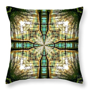 Kaleidoscope Aqua Sunrise Throw Pillow by Julia Hassett