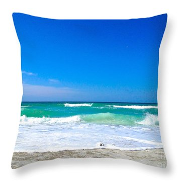 Aqua Surf Throw Pillow by Margie Amberge