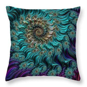 Aqua Swirl Throw Pillow