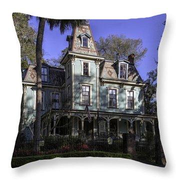 Aqua Victorian Painted Lady Throw Pillow by Lynn Palmer