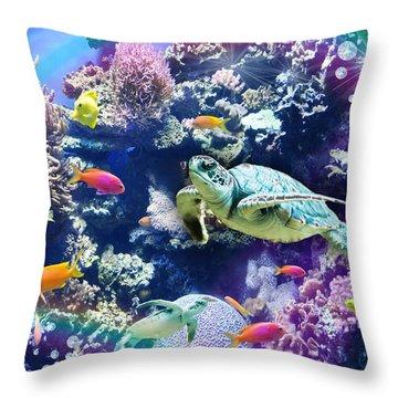 Aquarium Throw Pillow by Alixandra Mullins