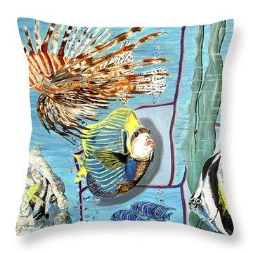 Throw Pillow featuring the painting Aquarium by Daniel Janda