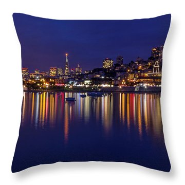Aquatic Park Blue Hour Wide View Throw Pillow