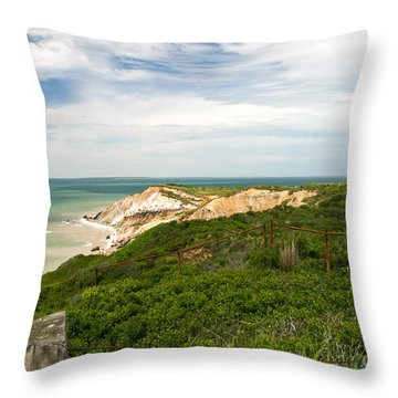 Aquinnah Gay Head Lighthouse Marthas Vineyard Massachusetts II Throw Pillow