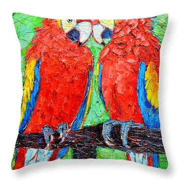 Ara Love A Moment Of Tenderness Between Two Scarlet Macaw Parrots Throw Pillow