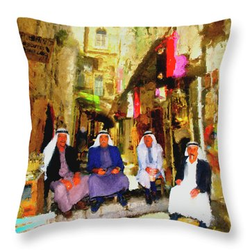 Throw Pillow featuring the painting Arab Merchants Of Jerusleum by Ted Azriel
