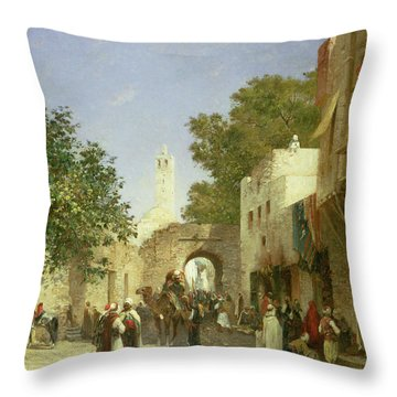 Arab Street Scene Throw Pillow by Honore Boze