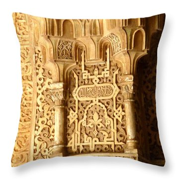 Arabesque At Alhambra Palace Throw Pillow by Susan Alvaro
