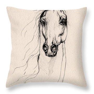 Arabian Horse Drawing 25 Throw Pillow
