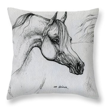 Arabian Horse Drawing 28 Throw Pillow by Angel  Tarantella