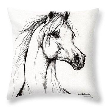 Arabian Horse Drawing 38 Throw Pillow