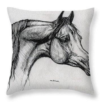 Arabian Horse Drawing 40 Throw Pillow by Angel  Tarantella