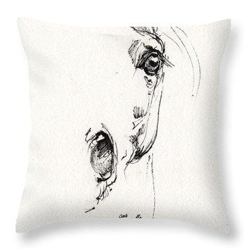 Arabian Horse Sketch 2014 05 24 H Throw Pillow