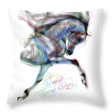 Arabian Horse Trotting In Air Throw Pillow