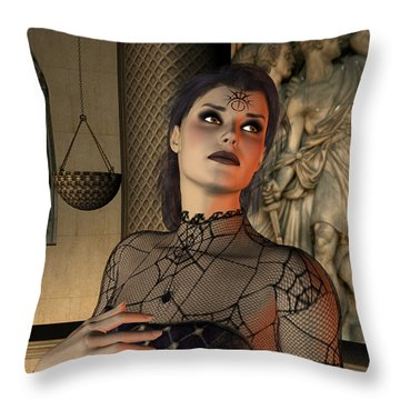 Throw Pillow featuring the digital art Arachna by Jayne Wilson