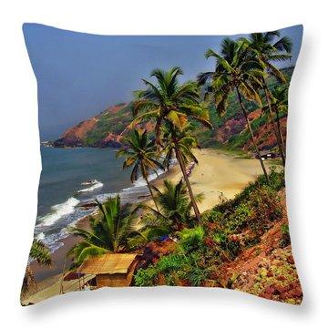 Arambol Beach India Throw Pillow by Anthony Dezenzio