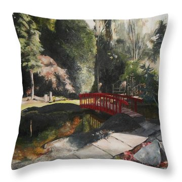 Arbour Bridge Throw Pillow by Cherise Foster