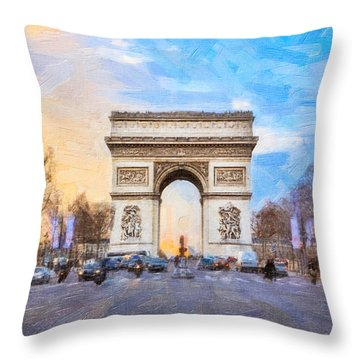 Arc De Triomphe - A Paris Landmark Throw Pillow by Mark E Tisdale