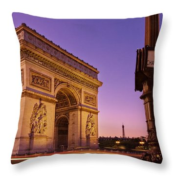 Arc De Triomphe At Dawn / Paris Throw Pillow
