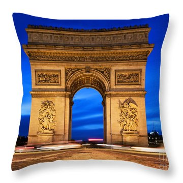 Arc De Triomphe At Night Paris France  Throw Pillow