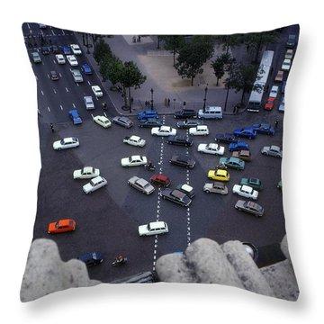 Arc De Triomphe Birds Eye View Throw Pillow by Roy Williams