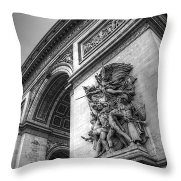 Throw Pillow featuring the photograph Arc De Triomphe In Black And White by Jennifer Ancker