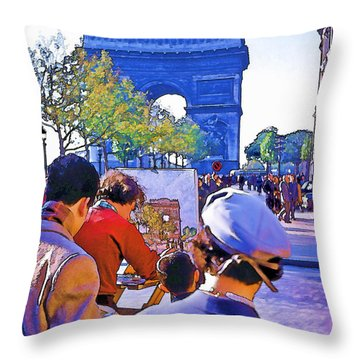 Arc De Triomphe Painter Throw Pillow by Chuck Staley