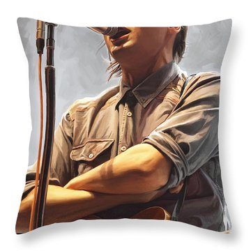 Throw Pillow featuring the painting Arcade Fire Win Butler Artwork by Sheraz A