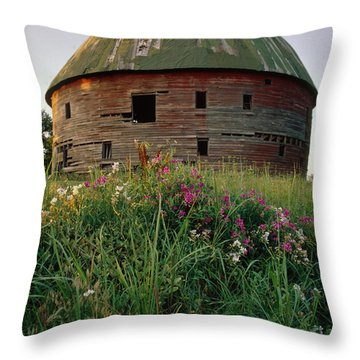 Arcadia Round Barn And Wildflowers Throw Pillow