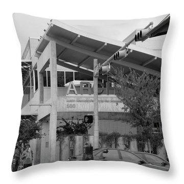 Throw Pillow featuring the photograph A.r.c.h. Austin Resource Center For The Homeless Bw by Elizabeth Sullivan