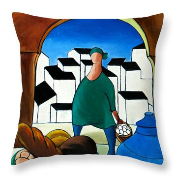 Arch Bread Eggs And Blue Vase Throw Pillow