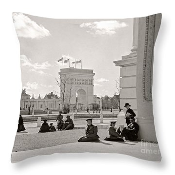 Throw Pillow featuring the photograph Arch Of States Trans Mississippi 1898 by Martin Konopacki Restoration