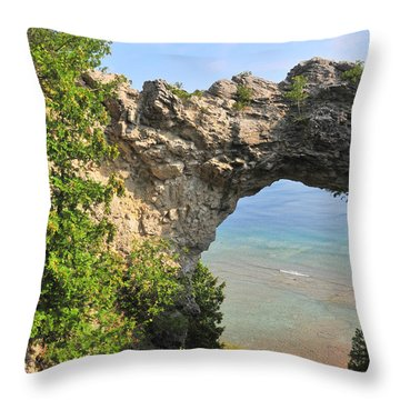 Arch Rock In Mackinac Island State Park Throw Pillow