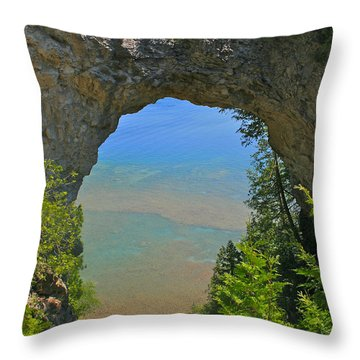 Arch Rock On Mackinac Island Throw Pillow