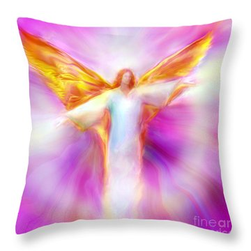 Archangel Sandalphon In Flight Throw Pillow